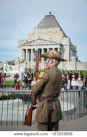 MELBOURNE, AUSTRALIA - MAY 24 2015: Australian soldier in Anzac day, Melbourne, Australia.