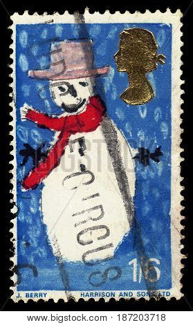 UNITED KINGDOM - CIRCA 1966: A stamp printed in Great Britain shows children's drawing snowman, series Christmas 1966 - Children's paintings, circa 1966