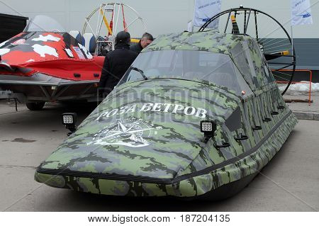 PERM RUSSIA-APRIL 14 2017: Camouflage airboats