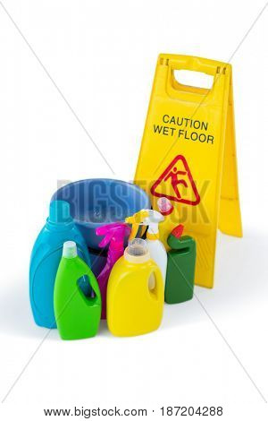 High angle view of sigh board with cleaning products against white background