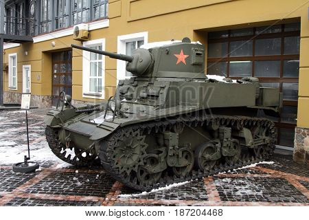 KRASNOGORSK RUSSIA-FEBRUARY 23 2016: Light tank M3 STUART the entrance to the Museum of technology Zadorozhnogo. Krasnogorsk Moscow region.