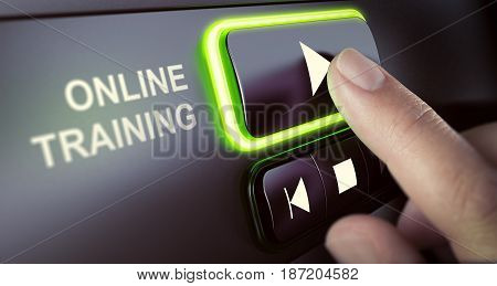 Finger pressing a push button to start playing a tutorial. Concept of online classes or training. Composite image between a hand photography and a 3D background.