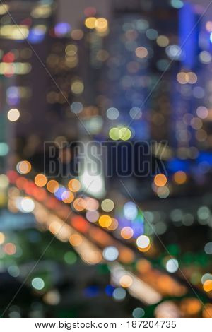 Aerial view blurred bokeh light city downtown abstract backgorund