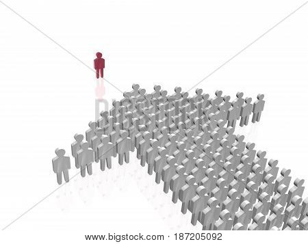 Red and grey mans on white reflective background 3D illustration.