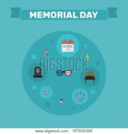 Flat History, Decoration, Fire Wax And Other Vector Elements. Set Of Memorial Flat Symbols Also Includes Candle, Drum, Glasses Objects.