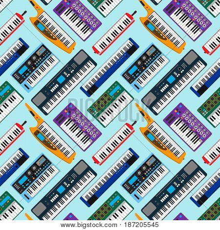Synthesizer piano musical keyboard equipment seamless pattern vector illustration