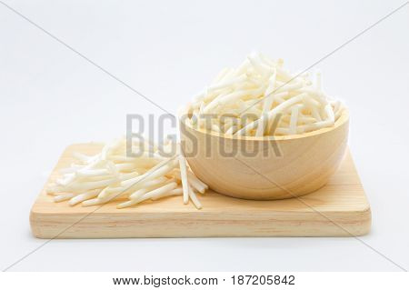 Bean Sprouts on wooden board on white background