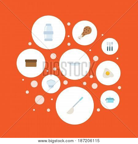 Flat Dish, Spice, Silverware And Other Vector Elements. Set Of Cooking Flat Symbols Also Includes Leg, Spice, Dishware Objects.
