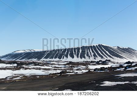 Myvatn volcano with clear blue sky background during winter season Iceland natural landscape background