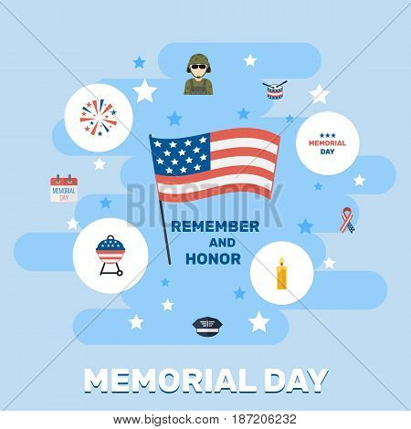 Flat Military Man, Barbecue, Fire Wax And Other Vector Elements. Set Of Memorial Flat Symbols Also Includes Day, Soldier, Cap Objects.