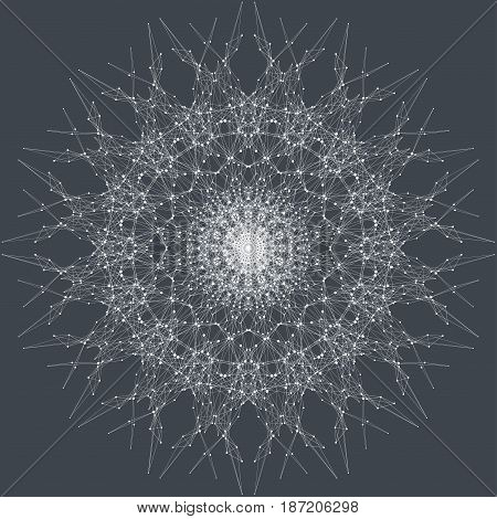 Fractal element with connected lines and dots. Virtual background communication or particle compounds. Minimalist style concentric circle. Digital data visualization. Lines plexus. Vector illustration