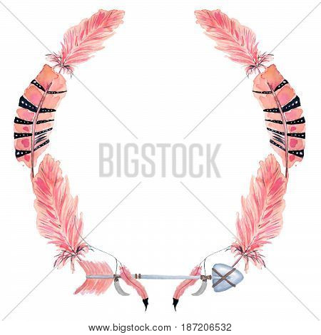 Boho wreaths with pink feathers hand drawn watercolor