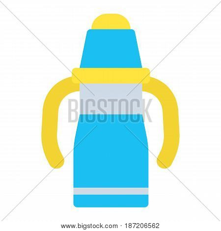 Sippy cup flat icon, baby cup and bottle, vector graphics, a colorful solid pattern on a white background, eps 10.