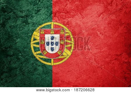 Grunge Portugal Flag. Portugal Flag With Grunge Texture.