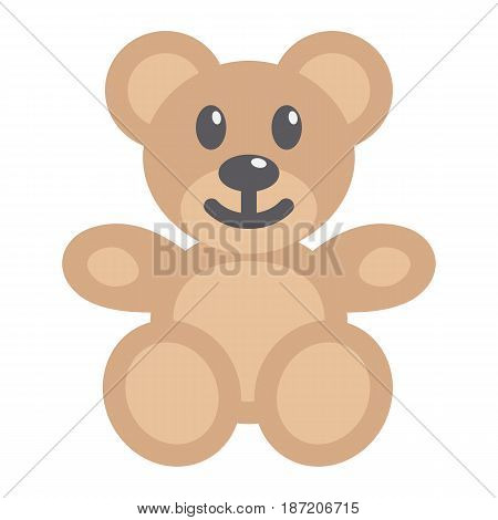 Teddy bear flat icon, plush toy and baby, vector graphics, a coloful solid pattern on a white background, eps 10.