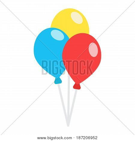 Ballons flat icon, party and holiday, vector graphics, a colorful solid pattern on a white background, eps 10.