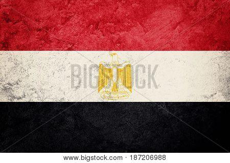 Grunge Egypt Flag. Egyptian Flag With Grunge Texture.