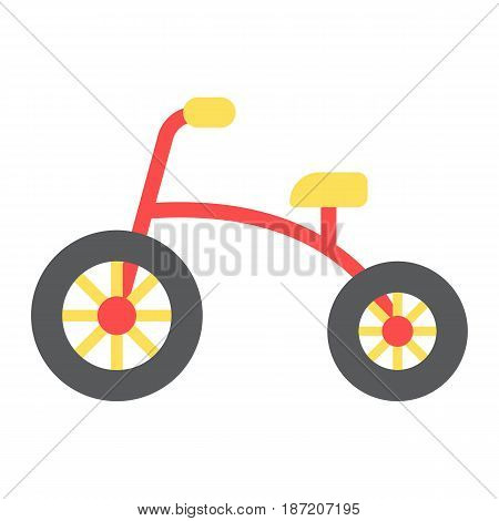 Tricycle flat icon, bike and toy, vector graphics, a colorful solid pattern on a white background, eps 10.