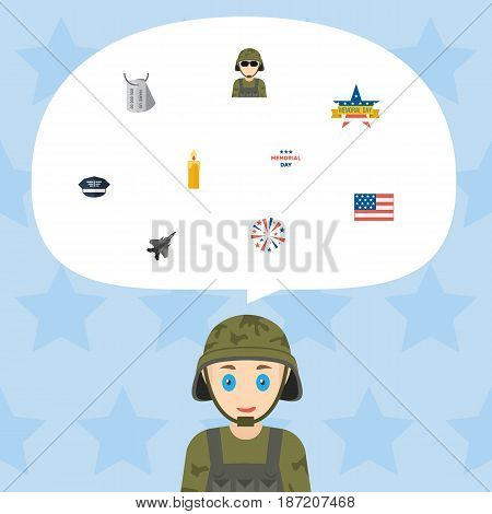 Flat Holiday, Memorial Day, Firecracker And Other Vector Elements. Set Of Memorial Flat Symbols Also Includes Usa, Flag, Sparklers Objects.