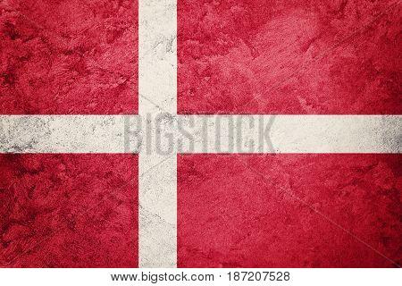 Grunge Denmark Flag. Denmark Flag With Grunge Texture.