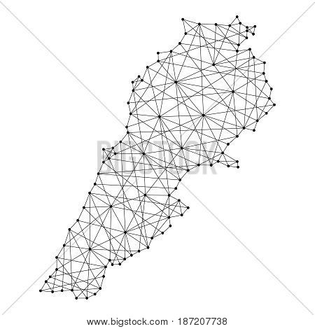 Map of Lebanon from polygonal black lines and dots of vector illustration