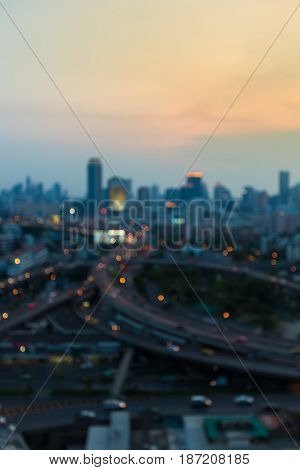 Twilight blurred bokeh aerial view city downtown abstract background