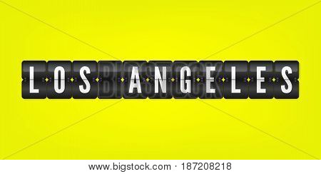 Los Angeles american city flip symbol isolated. Vector scoreboard icon illustration. Californian International airport black and white sign on yellow background
