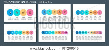 Business infographics. Presentation templates with 4, 5, 6, 7, 8, 9 connected circles. Vector infographic flowcharts, diagrams, timelines.