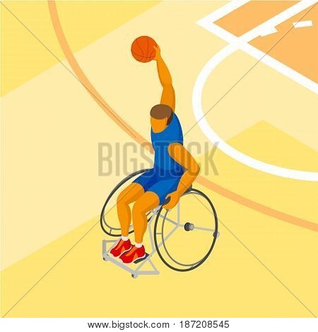 Physically disabled basketball player at the court. Wheelchair basketball - sport clip art. Isometric 3d athlete.