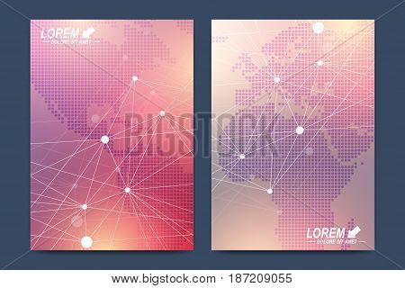 Modern vector template for brochure Leaflet, flyer advert cover catalog magazine or annual report. Business, science, medical design. Scientific cybernetic globes. Lines plexus. Card surface