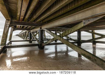 Long exposure under the pier of Saint Jean de Monts (Vendee, France)
