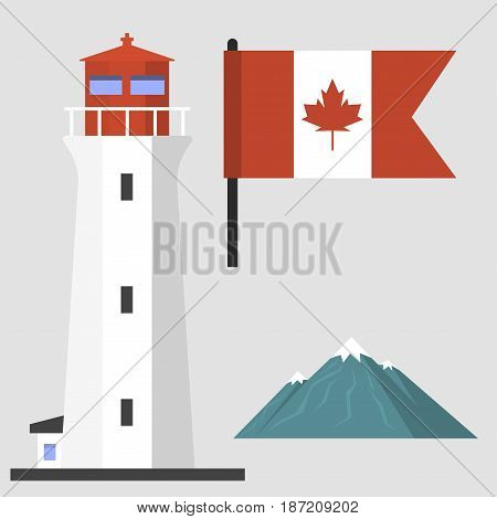 Travel canada traditional objects country tourism design national symbol vector illustration. Nation color graphic america culture canadian national landscape sign.