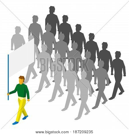 Isometric flag bearer with blank standard and a lot of people behind him. Sport team infographic.