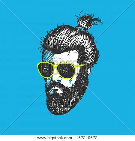 Head of man.Modern hipster with cool hairstyle dressed in black sunglasses