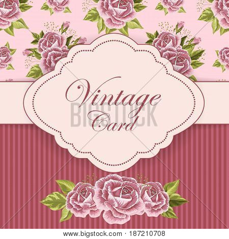 Vector illustration of a vintage frame on floral and striped background for invitations and birthday cards.