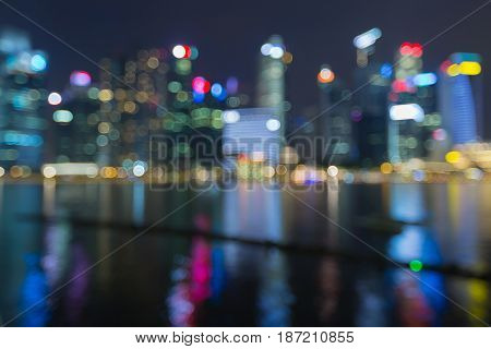 Night blurred light Singapore city business downtown twilight abstract background