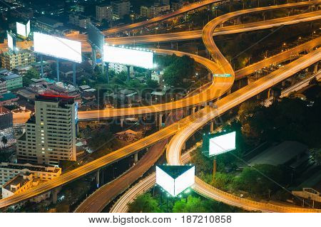 Top view Highway intersection night view long exposure