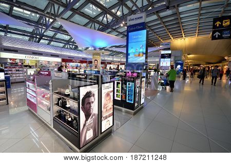 BANGKOK THAILAND- MAY 16 2017: Unidentified people shop at duty free cosmetics boutiques at the International Airport Suvarnabhumi which is the sixth busiest airport in Asia.