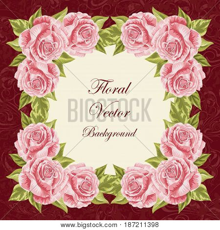 Beautiful floral frame for invitation card. Vector illustration.