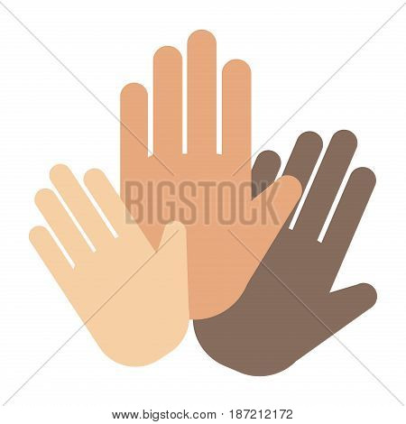 People hands showing greeting wrist direction symbol finger human thumb concept vector illustation. touch, communication gesture help donate fundraiser trust social rescue helping.