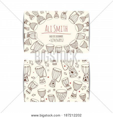 African drum visit card. Djembe master drummer business card. Isolated beige template with zulu ornament. Warm ethnic colors. Hand drawn doodle set for african musician, teacher, master.