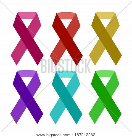 Colorful aids ribbon isolated on white vector awareness ribbon aids hiv symbol charity illness health medicine protection element. Campaign life sickness cancer solidarity day.
