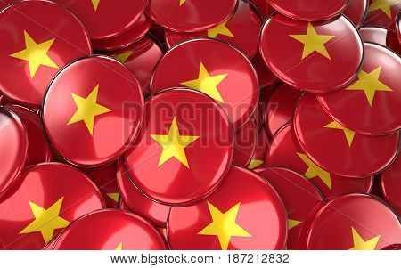 Vietnam Badges Background - Pile Of Vietnamese Flag Buttons.