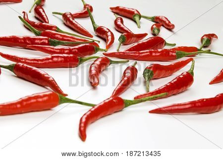 Fresh pods of red chili peppers on white background close up