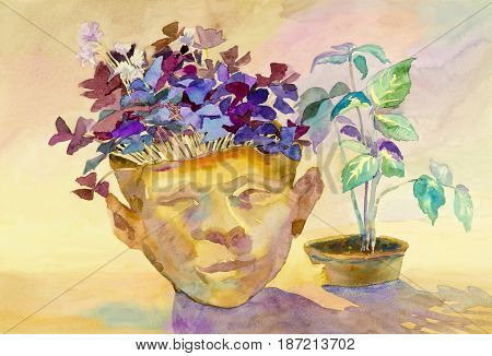 Painting art watercolor landscape original colorful of butterfly in flower pots - ideas and emotion abstract background