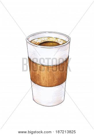 Glass of hot coffee is isolated on a white background. Color drawing markers. Handwork sketch. Vector cup coffee illustration for design