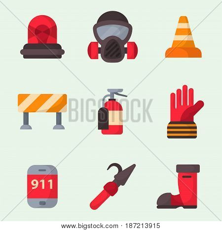 Fire safety equipment emergency icons firefighter symbols safe danger accident flame protection vector illustration. Hazard warning caution tool firefighting tools.