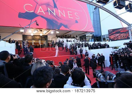 Photographer  attends the 'Ismael's Ghosts (Les Fantomes d'Ismael)' screening and Opening Gala during the 70th annual Cannes Film Festival at Palais des Festivals on May 17, 2017 in Cannes; France.