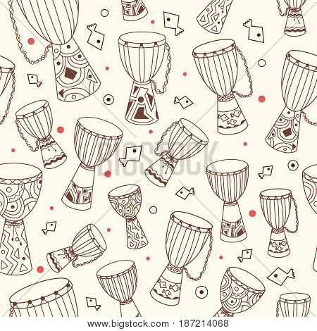 Hand drawn african drums djembe. Ethnic seamless pattern. Vector sketchy texture. Tillable african background with drums for fabric, textile design, wrapping paper or wallpaper.