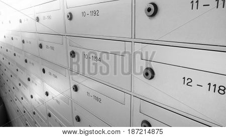 Mailbox locker post box or postbox in condominium for information and letter. Mailbox for background with copy space. poster